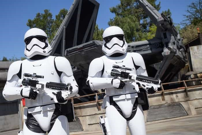 Storm Troopers stand guard at Star Wars: Galaxy's Edge at Disneyland Park in Anaheim, California. Photo Richard Harbaugh/Disney Parks