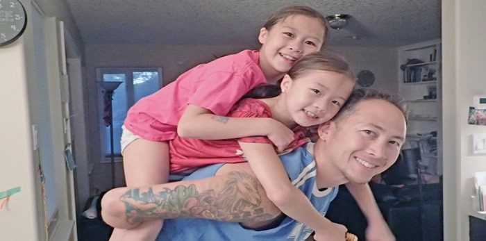 Jeremy Chow and daughters, Maile, 10 and Jayla, 8.