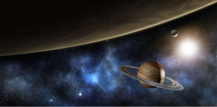 Photo: Jupiter, saturn and the milky way - 3d illustration-element of this image furnished by NASA / Shutterstock