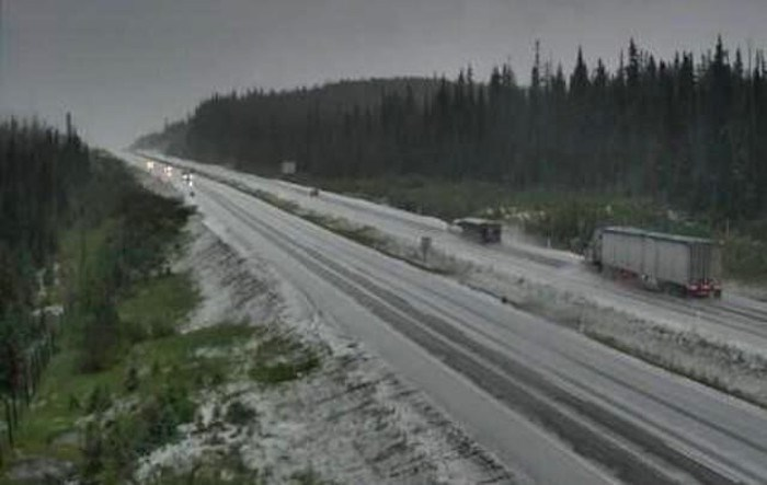 The Okanagan Connector is blanketed with snow at the Pennask Summit Thursday night. Photo via DriveBC