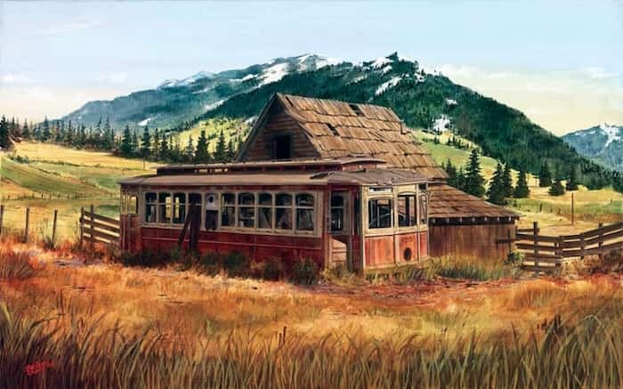 Painting in acrylic on canvas, artist Brian Croft depicted the fate of many North Vancouver streetcars that were converted into cabins near Stave River. More of Croft's work can be viewed