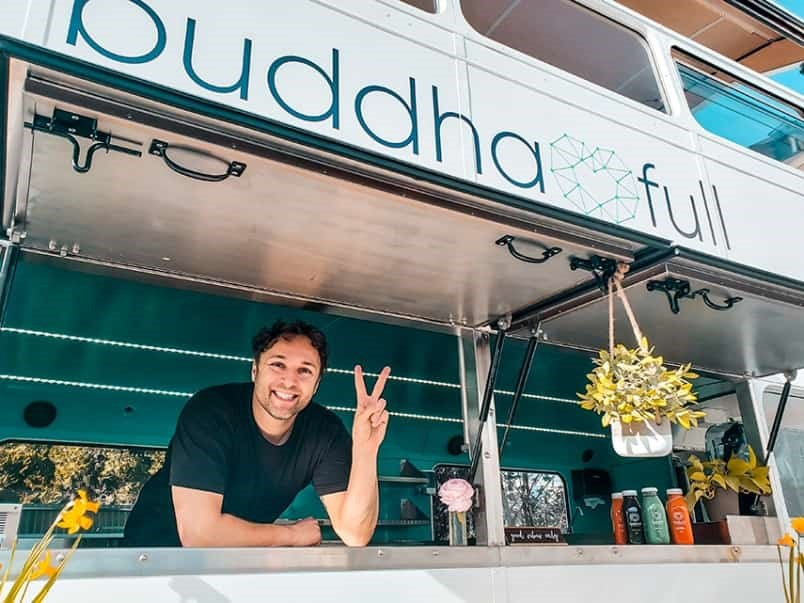 Buddha-Full co-founder Geremie Voigt says it's all systems go with the Buddha-Bus now ready to roll. This weekend the bus will be at Capilano Mall on Saturday and Dollarton Plaza on Sunday. Photo: Supplied by BUDDHA-FULL