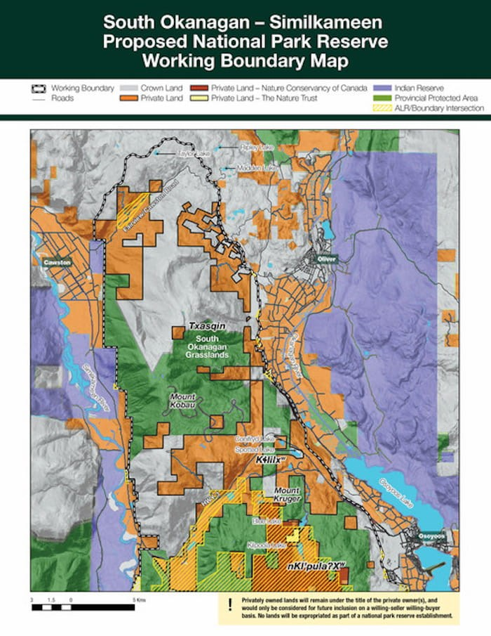 Working boundary map for South Okanagan National Park Reserve. Image courtesy Parks Canada