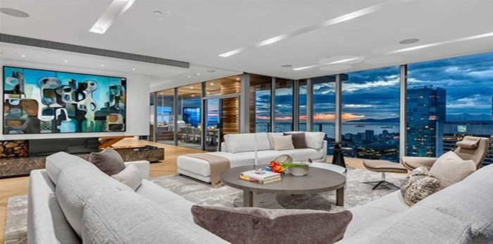 The main living area takes up one corner of the penthouse, and is well separated from the family room. Listing agents: Malcolm Hasman, Jason Soprovich