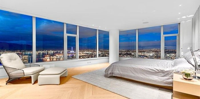 One of four bedrooms in the penthouse, plus there's an additional office, all of which have amazing views. Listing agents: Malcolm Hasman, Jason Soprovich