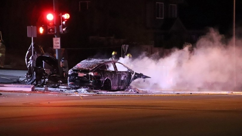 Speed and impairmentl not mechanical failure, were the key factors in a crash March 18 in Coquitlam that killed a man and destroyed a Tesla Model X. Photo by Shane Mackichan