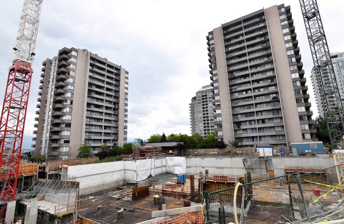 A new rental tower is being built closer than usual to an existing building, but within building code restrictions, according to the City of Burnaby. Photo by Jennifer Gauthier/Burnaby NOW