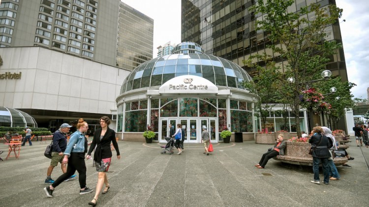 The current Pacific Centre plaza leads up to a glass rotunda entrance to the mall. Photo by Chung Chow/Business In Vancouver