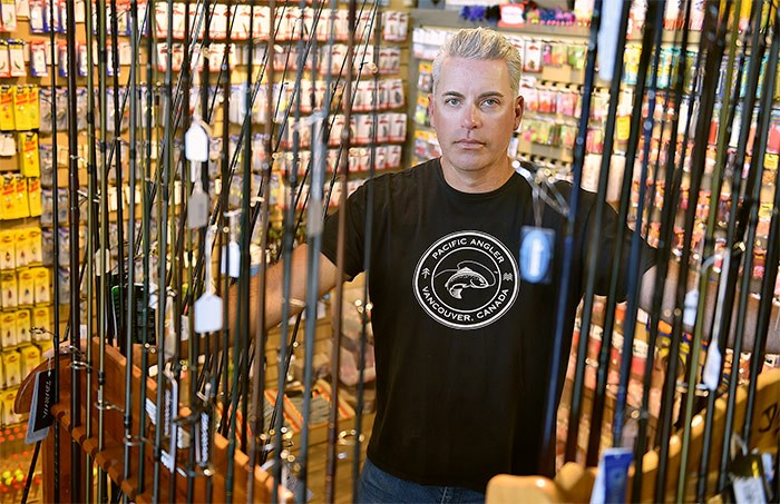 Jason Tonelli is owner of the Pacific Angler on Broadway. He's lost 70 per cent of his seasonal business since the recreational fisheries closure was announced on April 16. - Dan Toulgoet