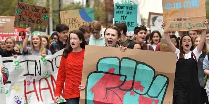Hundreds of students from across the Lower Mainland took to the streets of downtown Vancouver May 3, marching for action on climate change as part of the Climate Strike movement. Photo: Dan Toulgoet