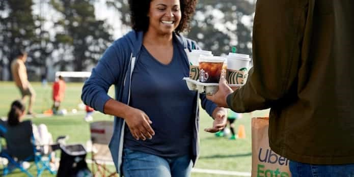 Don't have time to grab coffee before the game? No worries, Starbucks will begin delivery service this summer through Uber Eats. Photo: Starbucks Canada