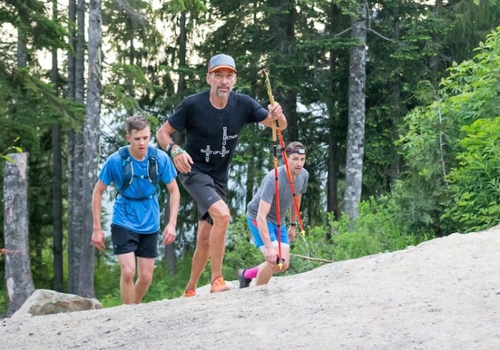 Wilfrid Leblanc leads a group of climbers on one of his 19 ascents of the Grouse Grind during a record-setting day June 21. Photo courtesy Grouse Mountain