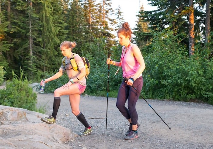 North Vancouver's Brooke Spence (right) nears the top during one of her record-setting 18 ascents of the Grouse Grind June 21. Photo courtesy Grouse Mountain