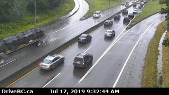 BC HighwayCam image from Highway 1, Hwy 1, northend of Ironworkers Memorial Bridge at Fern Street, looking southbound. Screenshot/DriveBC