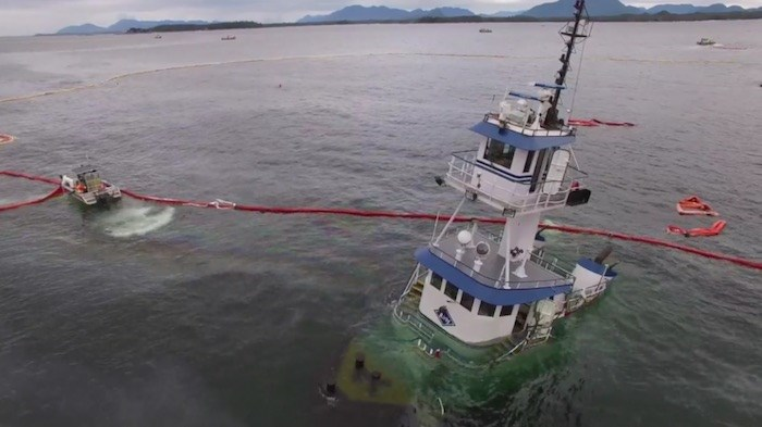 The 2016 sinking of a tugboat near Bella Bella led to the spill of 107,552 litres of diesel fuel and 2,240 litres of lubricants. Screengrab from video, Heiltsuk First Nation of Bella Bella, submitted
