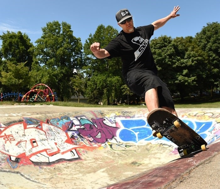 Peter Docommun, aka P.D., gets after it at the China Creek skatepark. Photo by Dan Toulgoet/Vancouver Courier