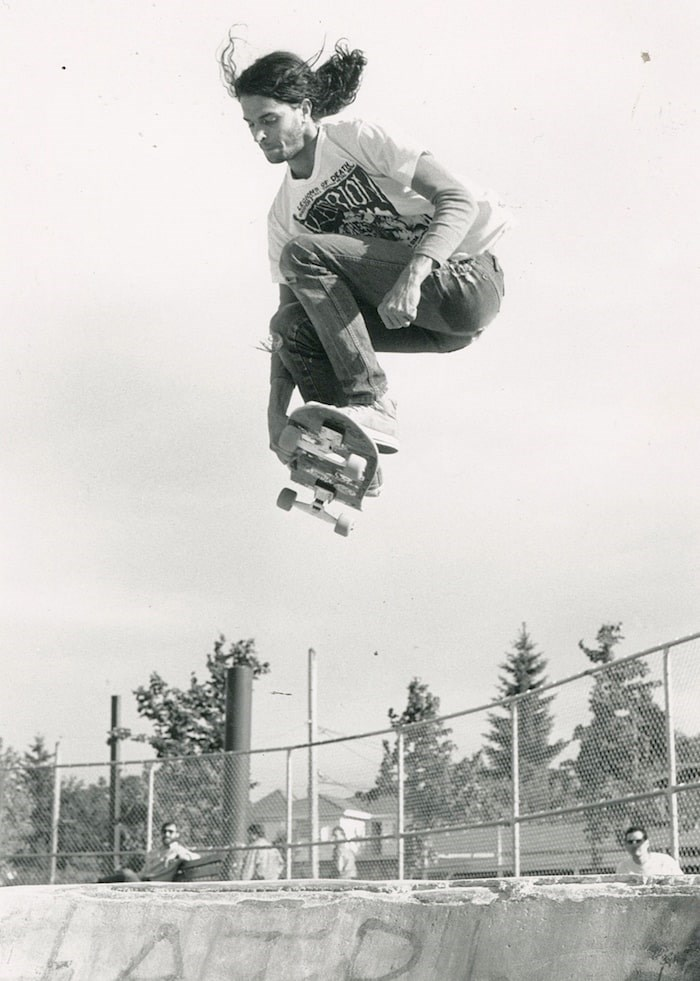 Carlos Longo skates at China Creek in 1987. - Submitted photo by P.D./Skull Skates