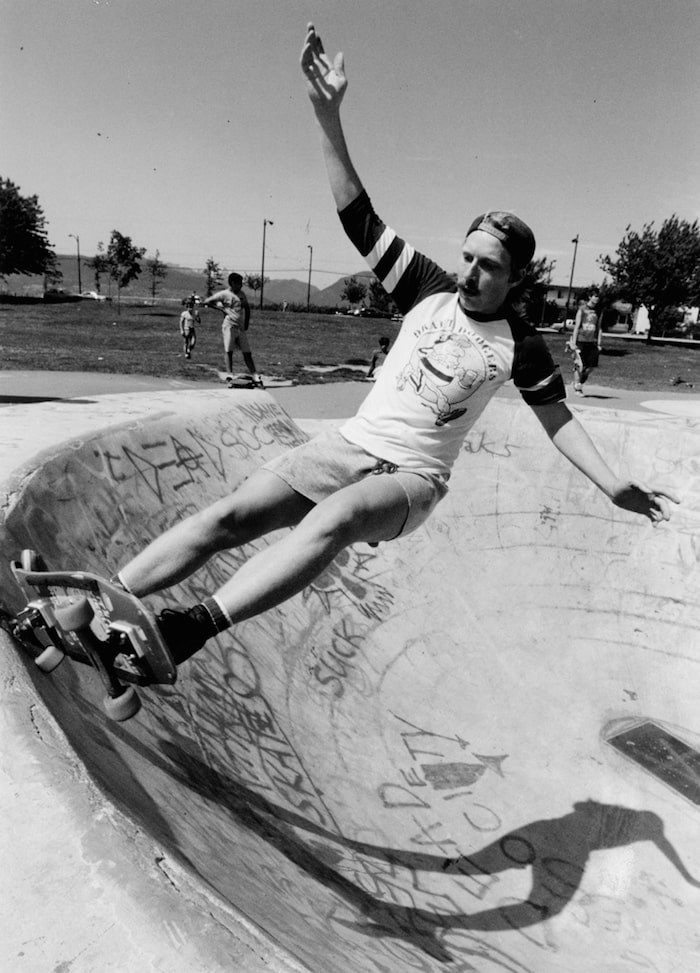 David Hakkarainen works out his $300 skateboard in China Creek Park on June 8, 1987. - Rick Loughran / Province