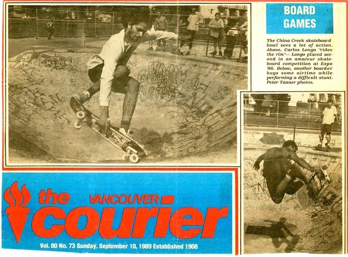 1980s Vancouver skateboarding luminary Carlos Longo on the cover of the Vancouver Courier in 1989.