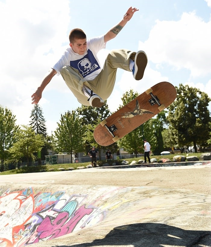 Alexis MacRae catches some air out of the bowl at China Creek skatepark. Photo by Dan Toulgoet/Vancouver Courier