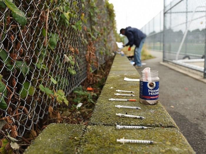 Needles found at Trillium Park. Photo by Dan Toulgoet/Vancouver Courier