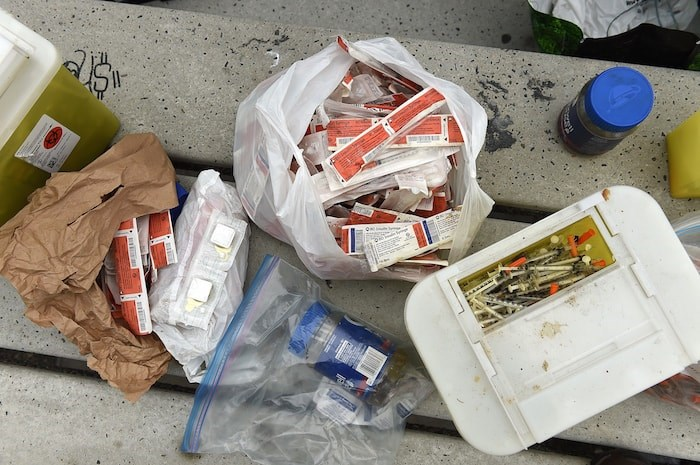Charles Bafford estimates he's collected close to 4,000 needles since last year. Photo by Dan Toulgoet/Vancouver Courier