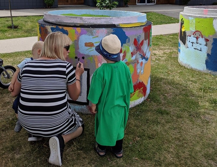 Six sewer pipes were used as canvases for whatever fun, creative works of art popped into residents' minds. Photo: City of Vancouver