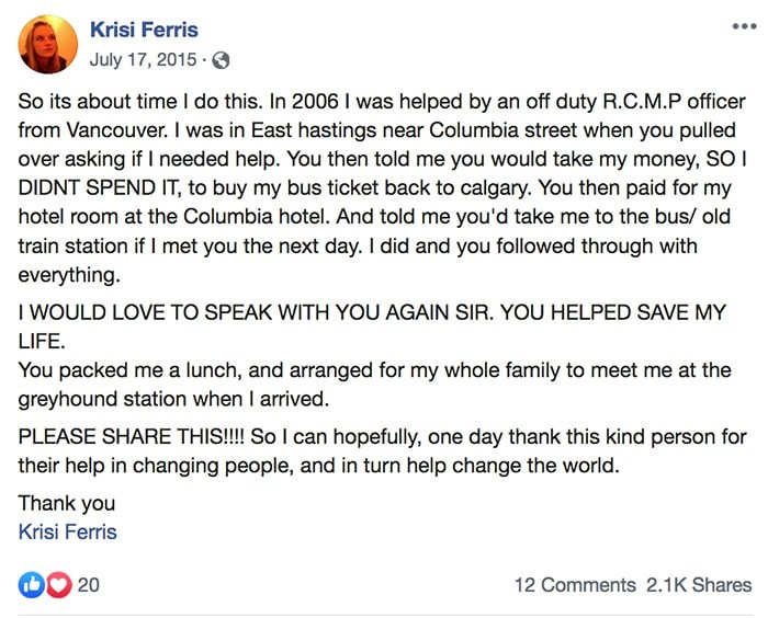 A Facebook post by Krisi Ferris in 2015.