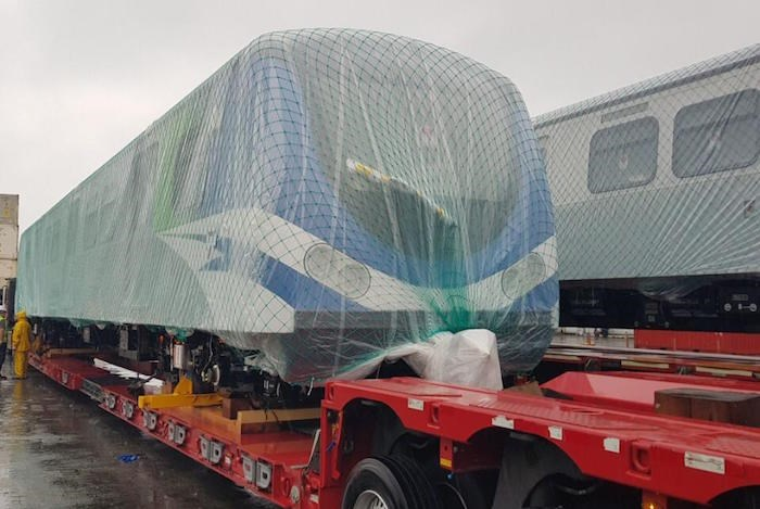 The first of a dozen new Canada Line trains built by Rotem in Korea is on its way to Vancouver. Photo courtesy TransLink