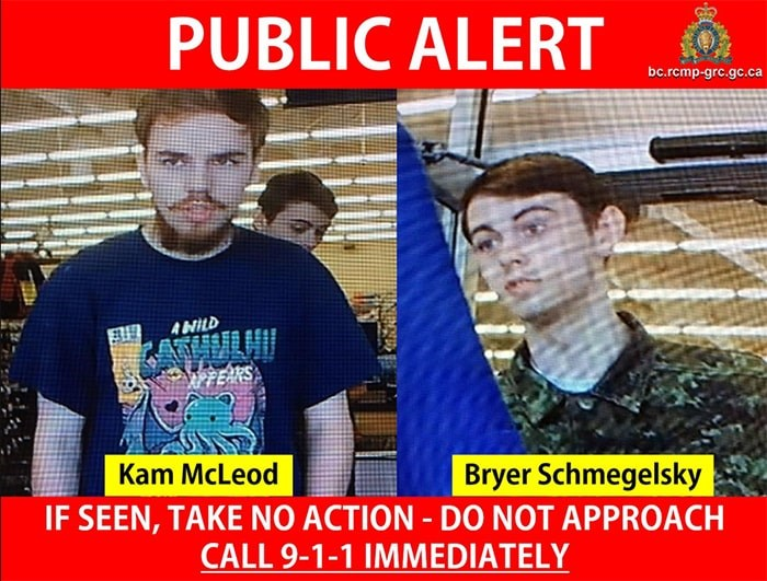 Kam McLeod & Bryer Schmelgesky are considered at-large and connected to the Dease Lake and Alaska Highway homicides in northern B.C. (via B.C. RCMP)
