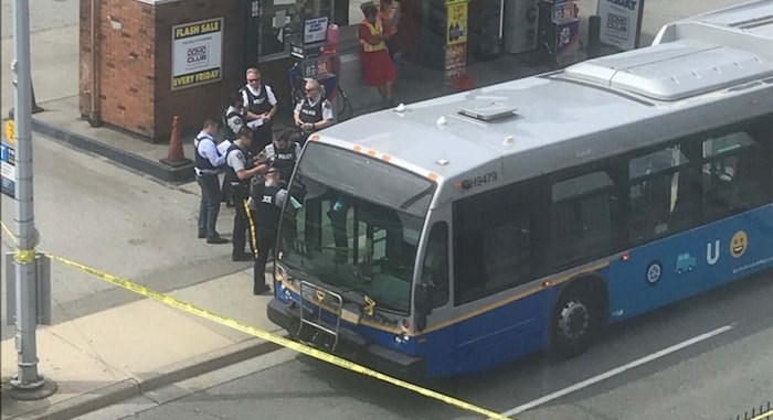 A TransLink bus is cordoned off at the Domo gas station on No. 3 Road south of Cambie in Richmond on Tuesday, July 23, 2019. Photo submitted by Liz via Richmond News