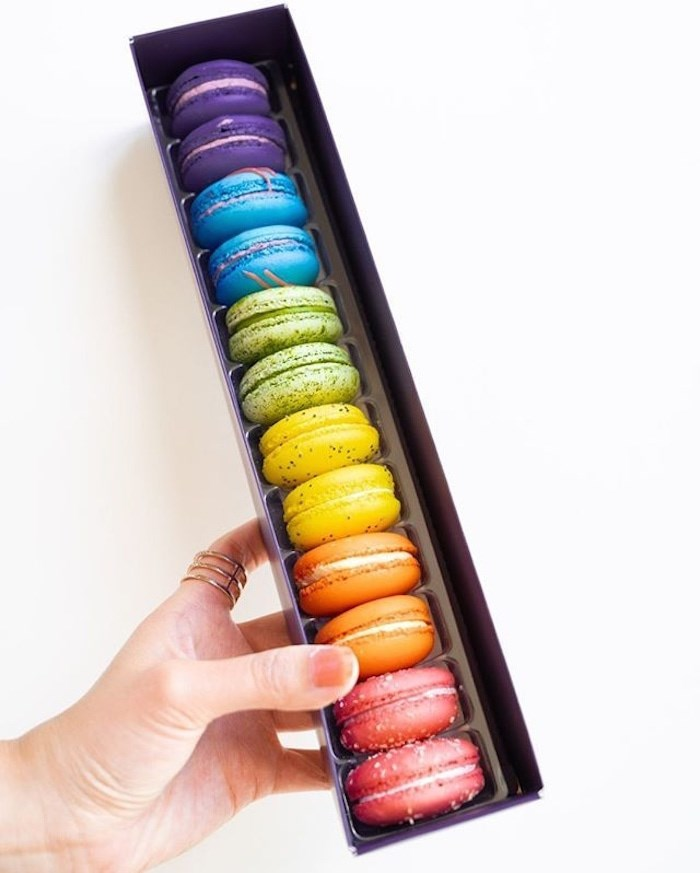 These rainbow-hued macarons are available at Bon Macaron Patisserie in Kitsilano. Photo Bon Macaron Patisserie