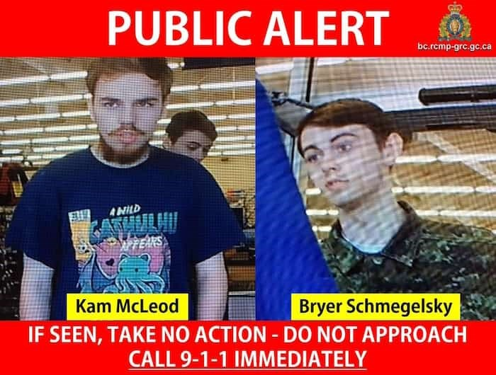 Kam McLeod, 19, and Bryer Schmegelsky, 18, are suspects in the murders of Lucas Fowler and Chynna Deese on the Alaska Highway, and the death of a man on Highway 37 near Dease Lake. Photo: BC RCMP