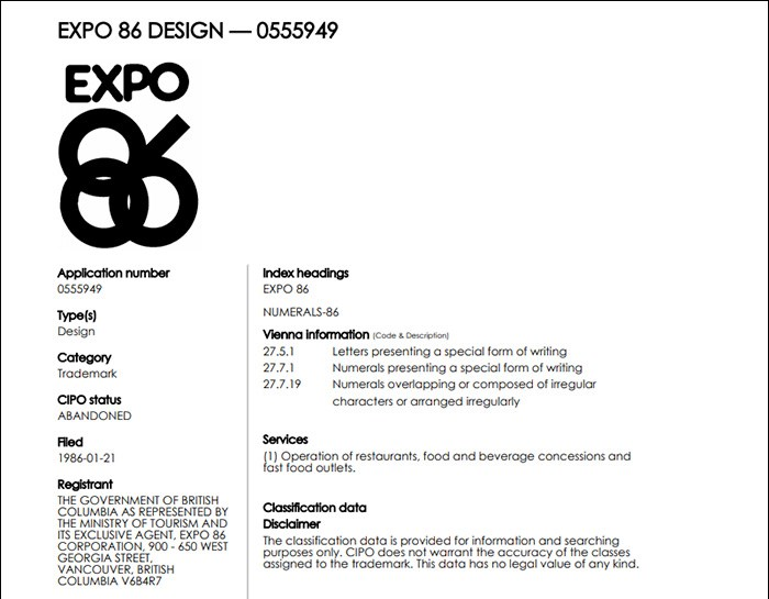 This is one of many abandoned EXPO 86 trademarks. Screengrab