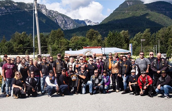 Members of Burnaby's new Bikers Against Bullying chapter pose for a group photo in Squamish Saturday. Source: Bikers Against Bullying