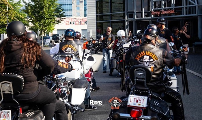 Members of Burnaby's new Bikers Against Bullying saddle up for a ride Saturday at Trev Deeley Harley Davidson. Source: Bikers Against Bullying