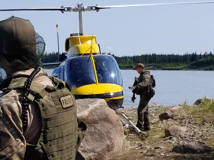 Manitoba RCMP in Gillam, where the search continues for B.C. murder suspects Kam McLeod and Bryer Schmegelsky. Photo via Manitoba RCMP