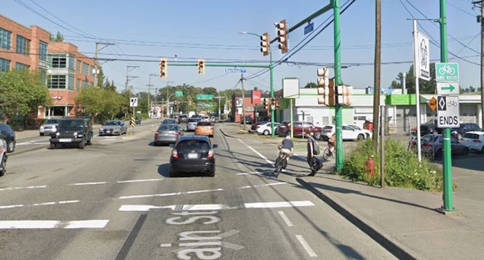 The site of a collision between a cyclist and driver Wednesday morning in North Vancouver. Photo via Google Earth