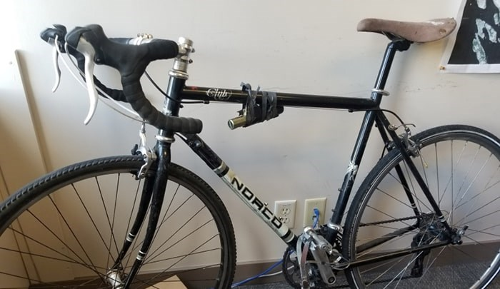 Nick Thomas had his Norco Club 17-speed road bike stolen outside his office at West Pender last week. Photo Grant Lawrence
