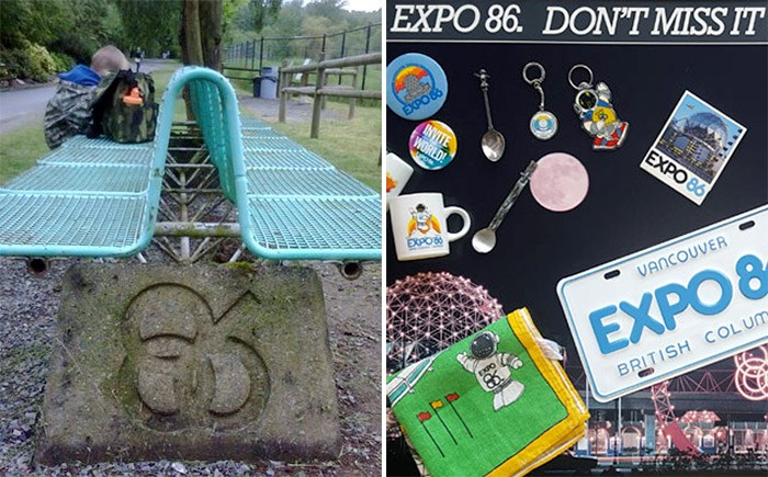 EXPO 86 bench and collectibles. Photos Sonya H (left) and Bob Kronbauer (right)