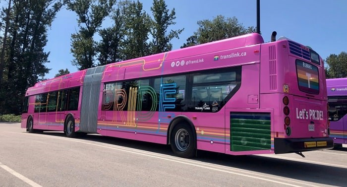 TransLink's pink Pride bus can be seen on some routes around the city ahead of Sunday's Pride Parade. Photo courtesy TransLink