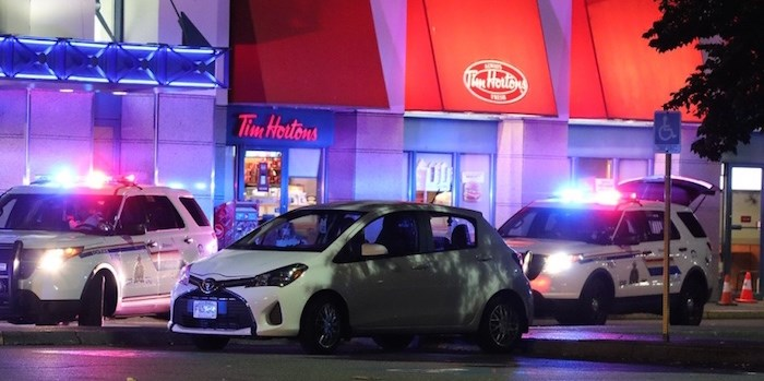 Richmond RCMP responded to calls of gunshots fired in the parking lot outside Tim Hortons at Richmond Mall Monday night. Shane MacKichan/Richmond News