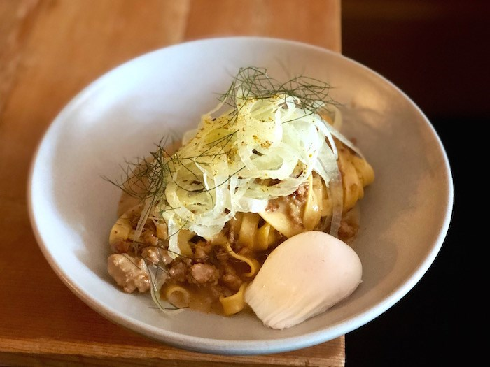 Fettucine for breakfast, with pork and fennel ragout and an egg on top. Photo by Lindsay William-Ross/Vancouver Is Awesome