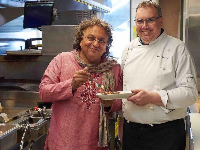 Chef Vikram Vij (left) & Chef Liam Dougall (right), mahony Stamps Landing. Photo courtesy mahony Restaurants