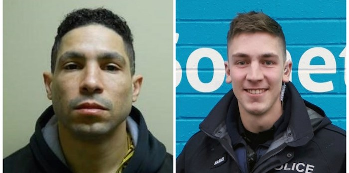 Police officers were involved in a Metro Vancouver-wide hunt to capture suspect Daon Gordon Glasgow (left) who was accused of shooting Const. Josh Harms at Scott Road SkyTrain Station Jan. 30 in Surrey.