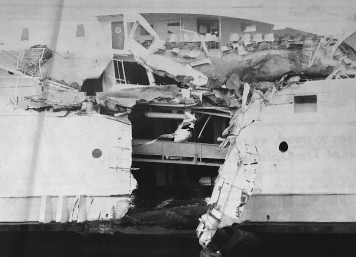 On Aug. 2, 1970 three people were killed on the BC Ferries vessel Queen of Victoria that had left the Tsawwassen terminal. A Russian freighter collided with the vessel. Delta Optimist file photo