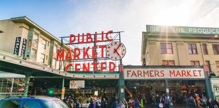 Photo: Pike Place Market or public market center in summer season, Seattle, Washington, USA.