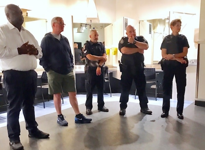 Philadelphia Mayor Jim Kenney and a delegation from his city, including Tumar Alexander (far left), visited the Insite drug injection site on East Hastings last week. Also pictured are members of the Vancouver Police Department. Photo courtesy Mayor Kenney's office