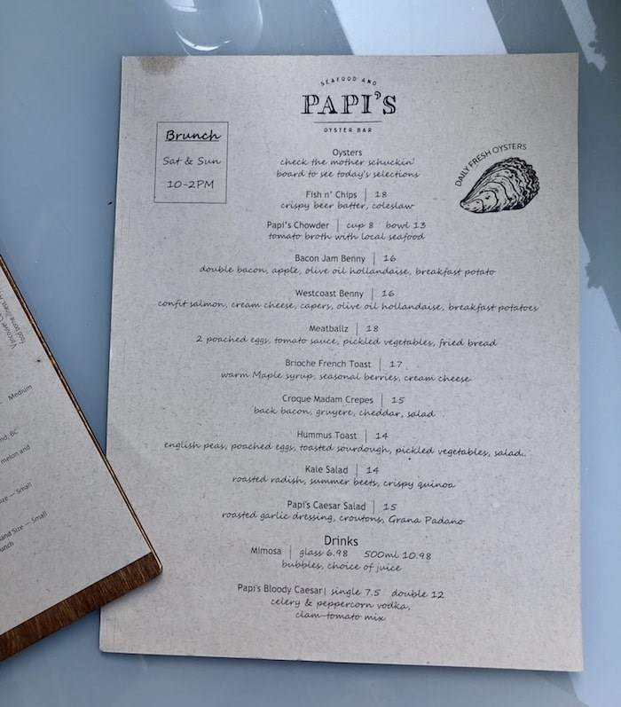 Brunch menu at Papi's. Photo by Lindsay William-Ross/Vancouver Is Awesome