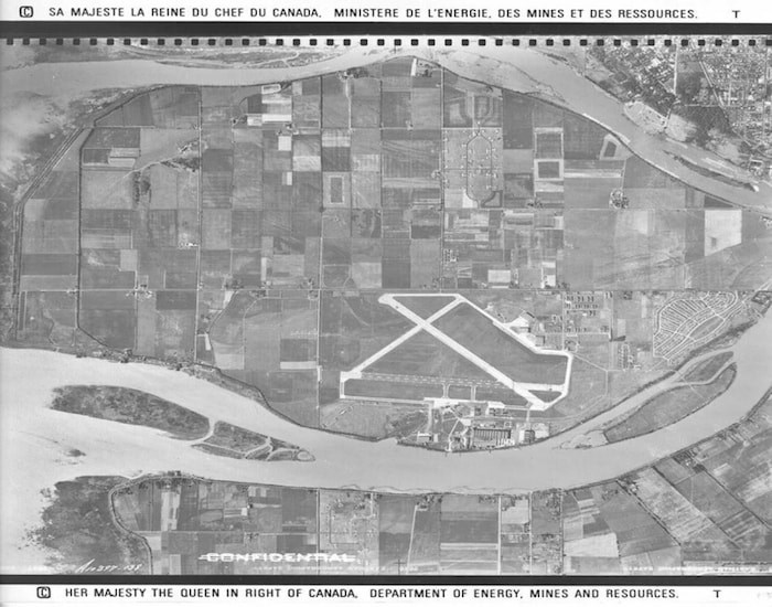 Aerial view of Vancouver's airport in 1946.